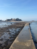 The causeway to Elizabeth castle (before the tide covered the path)