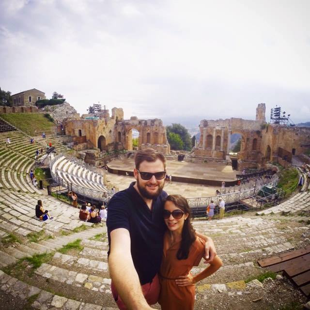 Selfie in the Ancient Greek theatre, Taormina
